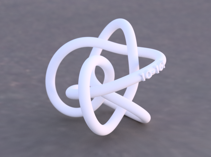 Midway Perko Knot 3d printed Example render of knot printed in White Versitile Plastic