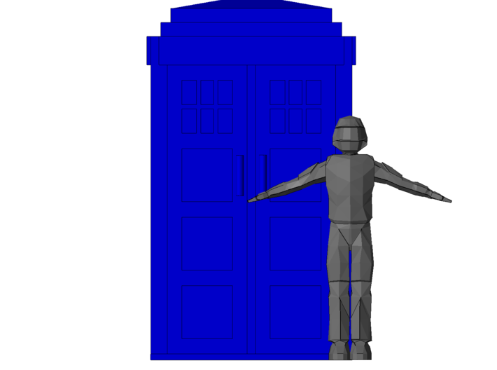 TT Type 40 TARDIS W-Surprise Inside 3d printed Shown with 6ft tall figure infront of the door for scale.