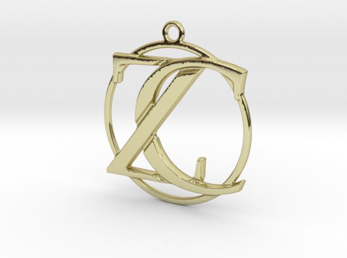 Initials Z&C and circle monogram 3d printed