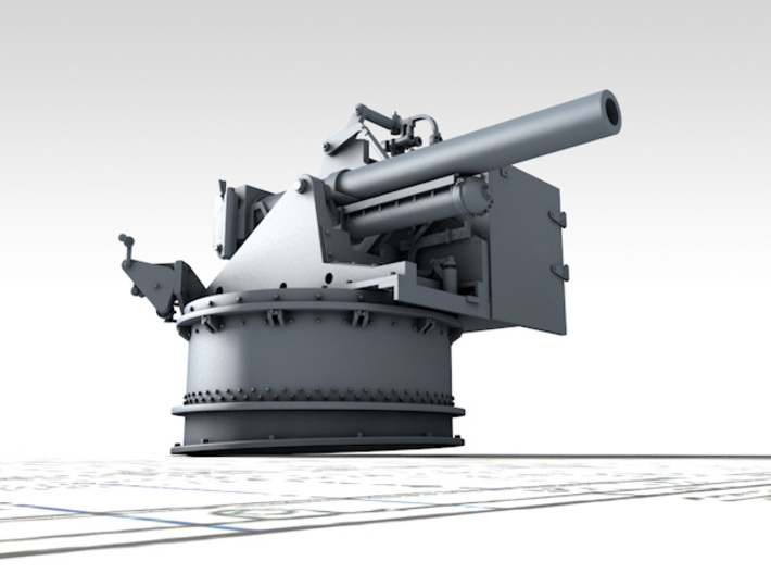 """1/128 4.5""""/19 (11.4 cm) 8cwt QF MKI Aft (MTB) 3d printed 3D render showing product detail"""