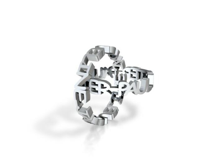Interlocked Name Rings--Peter Paul Jacqueline 3d printed