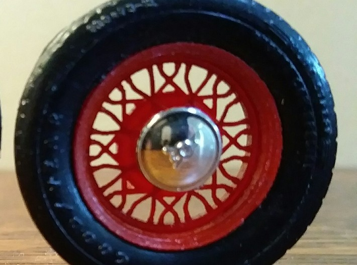 """Set of four Kelsey Hayes """"Bent Spoke"""" big & little 3d printed Painted wheel.  Hub cap and tire are not included"""