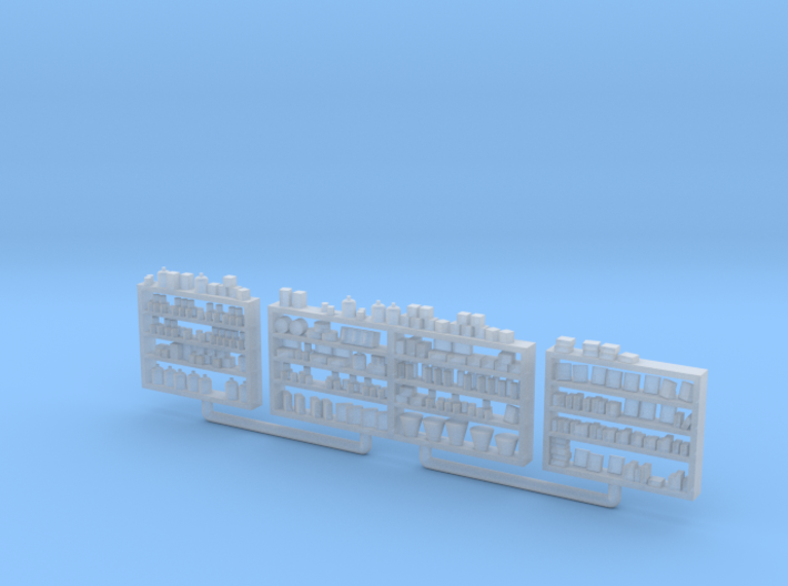 Detailed Shelving with Goods HO Scale 3d printed
