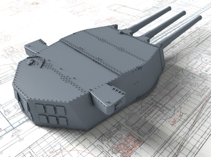"1/350 HMS Lion Class 16""/45 (40.6 cm) MKII Guns x3 3d printed 3D render showing A Turret"