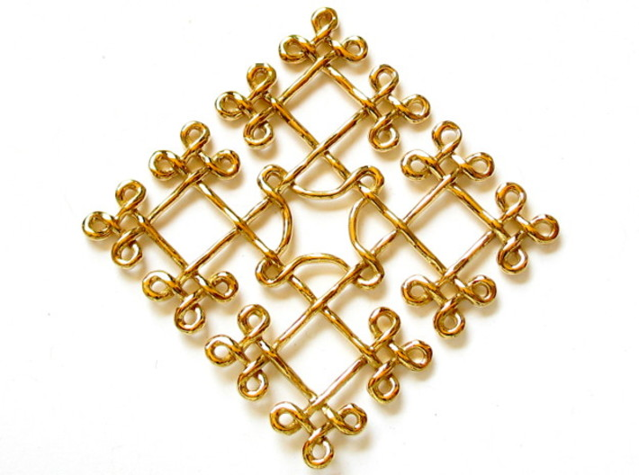 Fractal Celtic knot pendant 3d printed Printed in polished brass