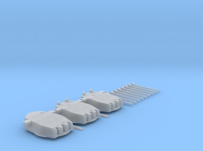 """1/700 HMS Lion Class 16""""/45 (40.6 cm) MKII Guns x3 3d printed 1/700 HMS Lion Class 16""""/45 (40.6 cm) MKII Guns x3"""
