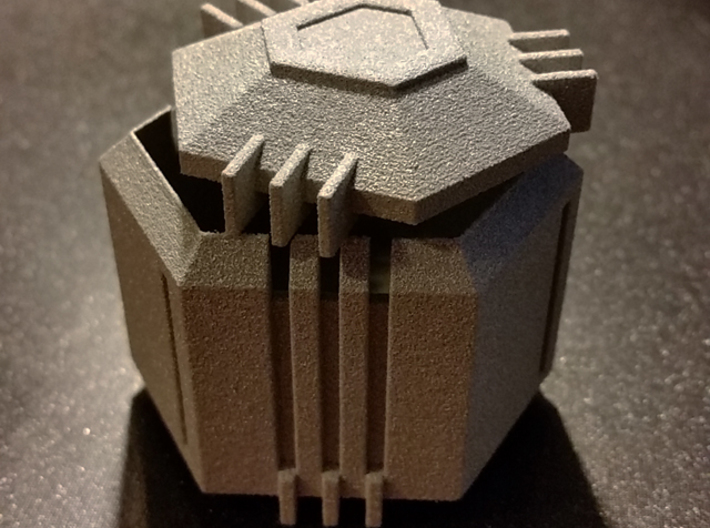 Ingress Inspired Capsule 3d printed Printed in Metallic Plastic.