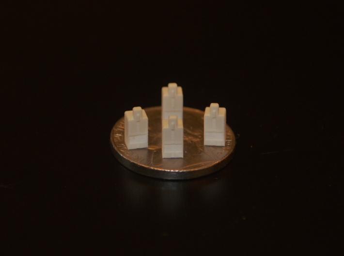 N-Scale Newspaper Vendor (4 Pack) 3d printed Production Sample w/ Size Comparison