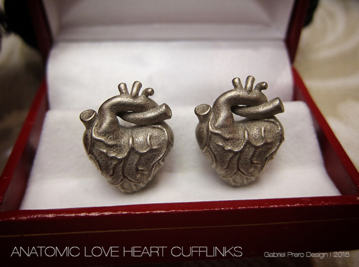 Anatomical Love Heart Cufflink SINGLE 3d printed