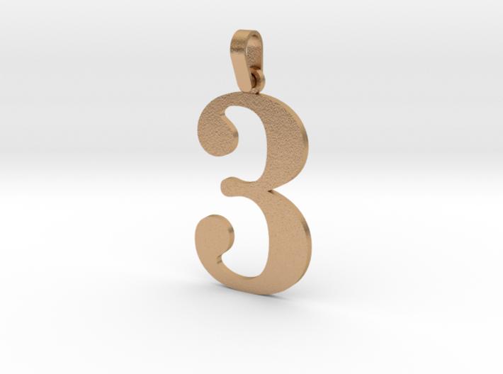 3 Number Pendant 3d printed