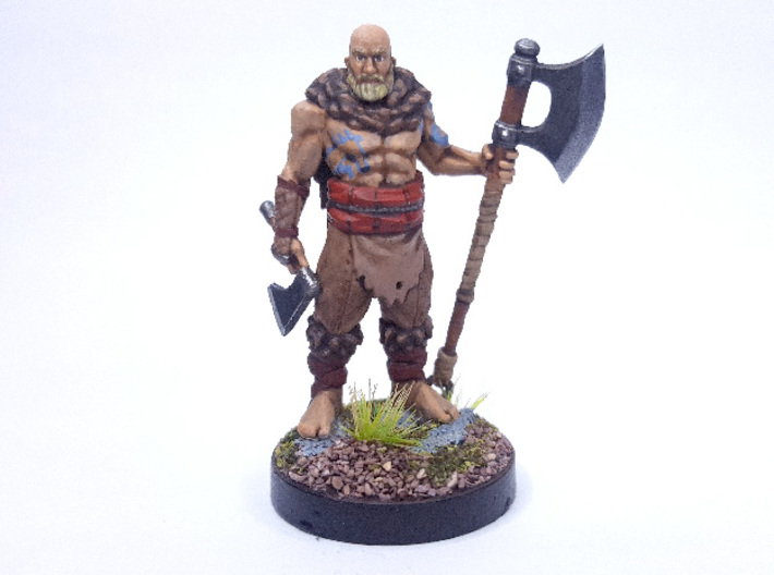 Human Barbarian 3d printed Painted with acrylic paints and mounted on a custom 1 inch base.