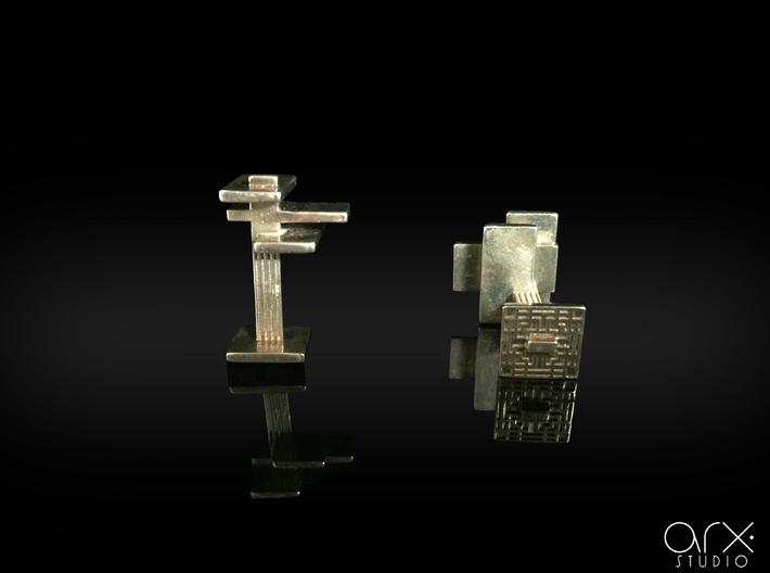 FLW Cufflinks 3d printed Photo by ARX Studio.