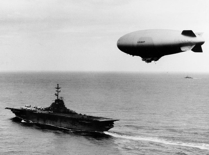 "U.S. NAVY ZPG-2W ""Nan Ship"" 3-in-1 Kit 3d printed Photo #USN 1034040 USS Leyte operates with a ZPG-2 airship during ASWEX 1-58, Feb 1958"
