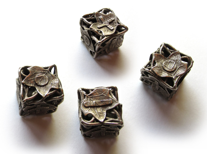 Fudge Botanical Die6 (Tulip Tree) 4d6 Set 3d printed In stainless steel