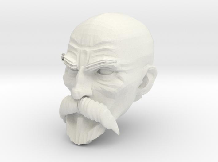 Bald Head with facial hair 1 3d printed