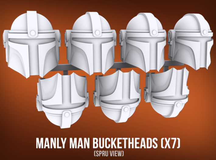 Manly Man Bucketheads (x7) 3d printed