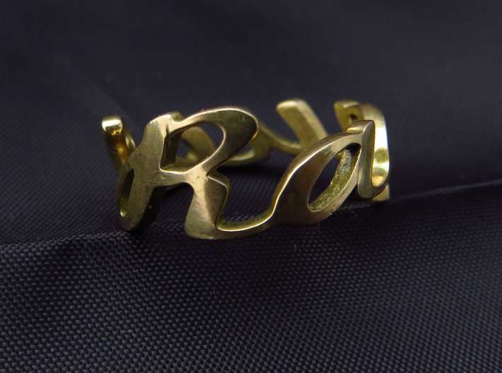 RING RAQUEL Size 6.5 3d printed Ring with the Raquel letters in polished bronze.