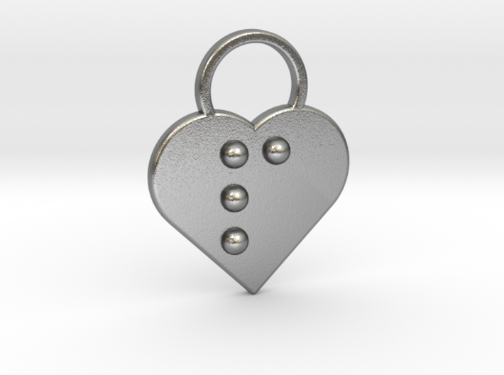 """""""p"""" Braille Heart 3d printed"""
