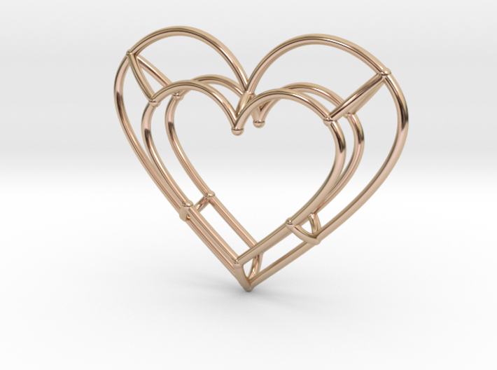 Small Open Heart Pendant 3d printed