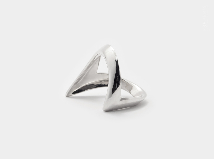 Wishbone Chevron Ring . Inspired by Tradition 3d printed A wishing tradition of good luck . Wishbone Ring .  3D print in Polished Silver, oxidized and hand-polished.