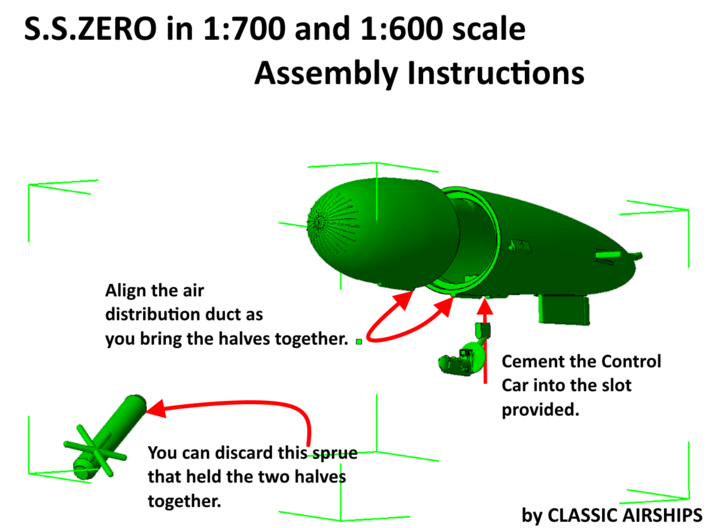 British S.S.Zero of WW1 3d printed Assembly Instructions page 2 of 2