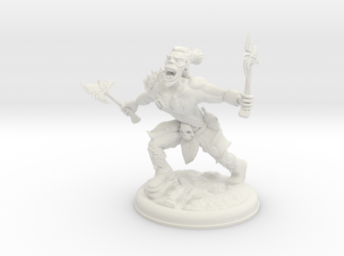 Orc with two Axes on 28mm Base 3d printed