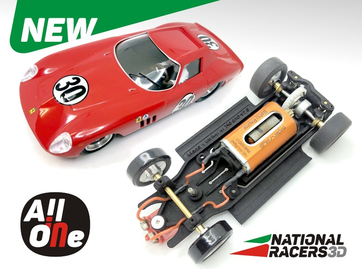 Chassis - Monogram Ferrari 250 GTO (Inline-AiO) 3d printed Chassis compatible with Monogram model (slot car and other parts not included)