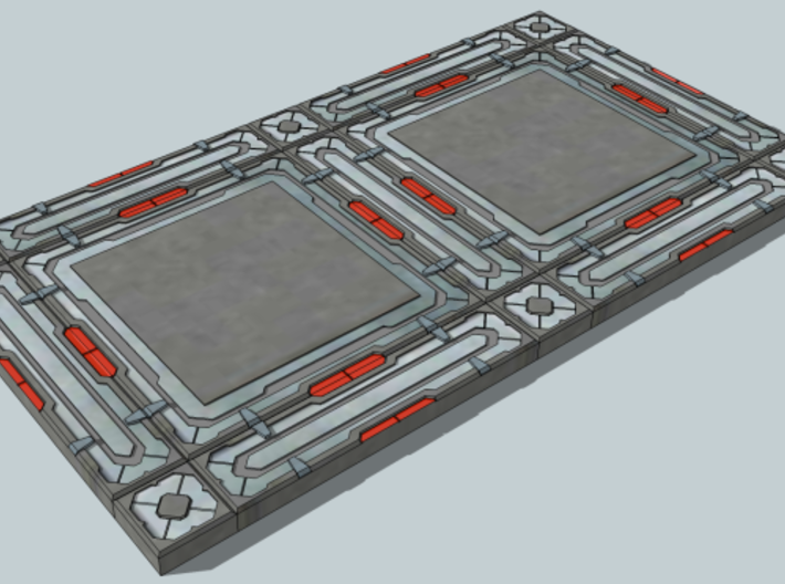 SciFi Tile 18 - Deck Plate 3d printed Suggestion for coloring the tiles when used together.
