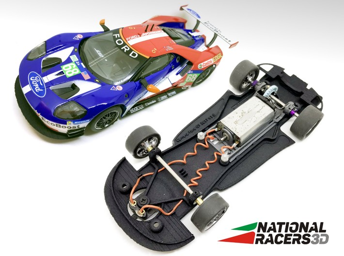 3D Chassis - Carrera Ford GT (Combo) 3d printed Chassis compatible with Carrera model (slot car and other parts not included)