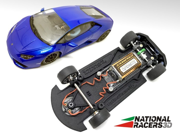 3D Chassis - Carrera Lamborghini Huracan (Combo) 3d printed Chassis compatible with Carrera model (slot car and other parts not included)