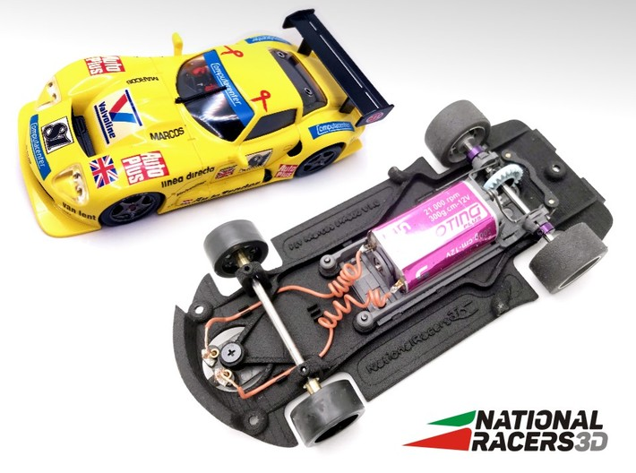 3D Chassis - Fly Marcos LM600 (Combo) 3d printed Chassis compatible with Fly model (slot car and other parts not included)