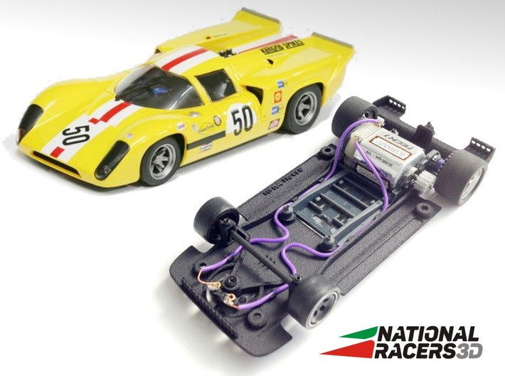 3D Chassis - Fly Lola T70 (SW) 3d printed Chassis compatible with Fly model (slot car and other parts not included)