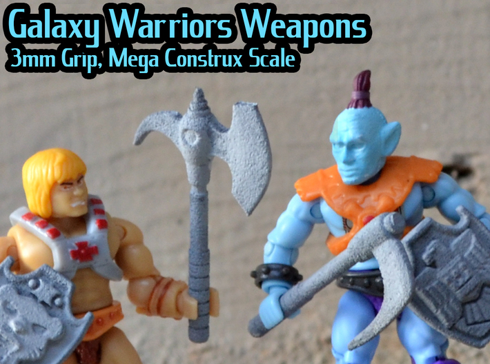 Galaxy Warriors Weapons (Mega Construx/Lego) 3d printed Hand painted white versatile, shown with shields (sold separately)