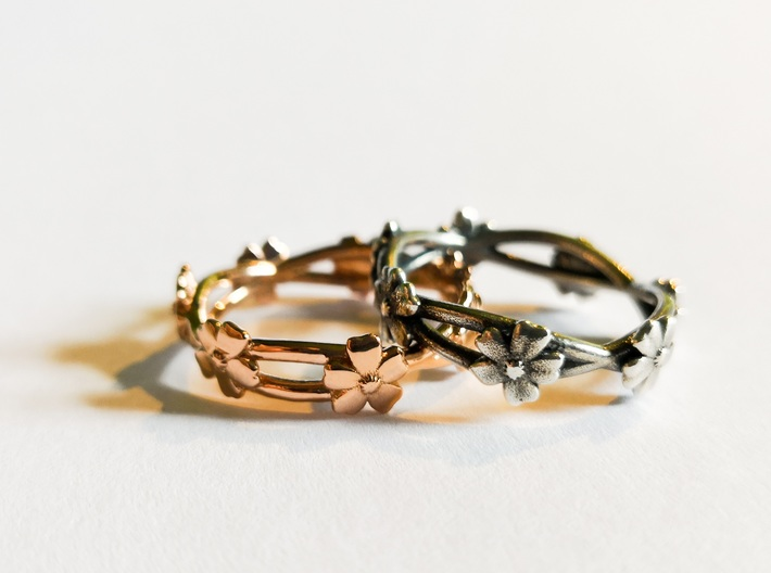 Forget Me Not Ring 3d printed photo of rose gold plated brass and antique silver