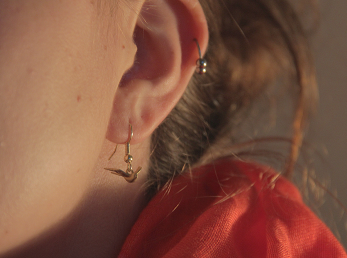Nautical Swallow Earrings 3d printed Raw Brass Nautical Swallow Earring.
