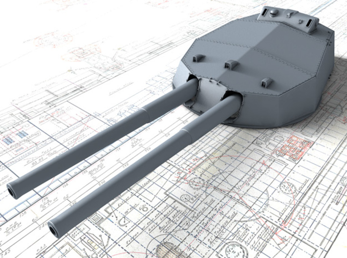 """1/200 HMS Colossus Class 1916 12"""" MKXI Guns x5 3d printed 3D render showing A Turret Detail"""