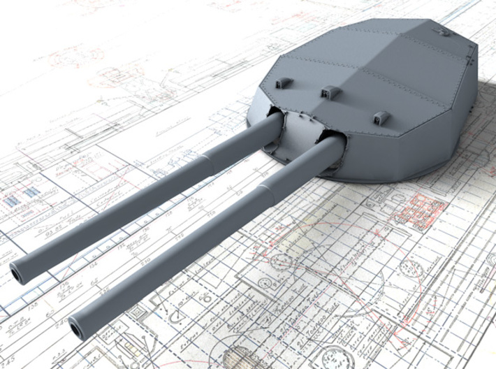 """1/600 HMS Neptune 1909 12"""" MKXI Guns x5 3d printed 3D render showing A Turret Detail"""