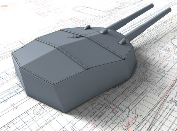 """1/600 HMS Neptune 1909 12"""" MKXI Guns x5 3d printed 3D render showing Y Turret Detail"""
