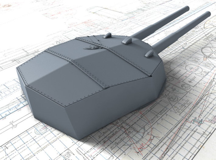 """1/600 HMS Colossus Class 1910 12"""" MKXI Guns x5 3d printed 3D render showing Y Turret Detail"""