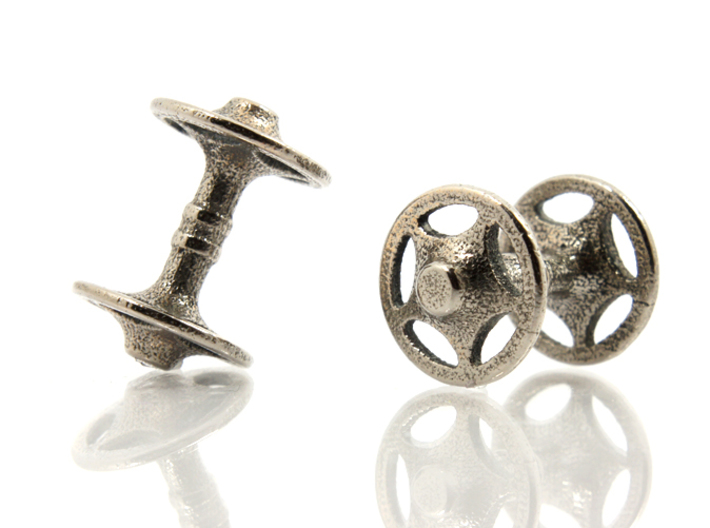 Sheriff Star Bicycle Hub Cufflink 3d printed Stainless Steel