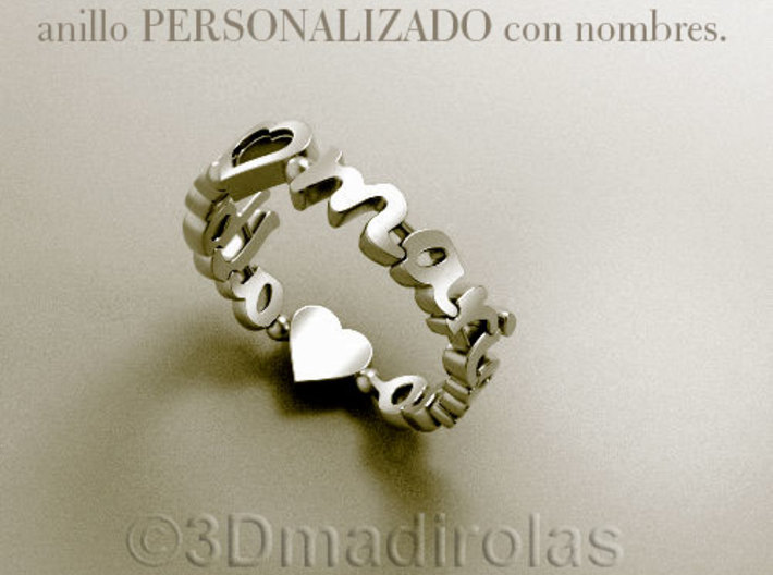 SILVER PERSONALIZED RING WITH TWO NAMES 3d printed