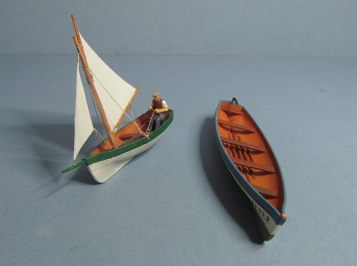 4 mm Scale Pilot Gig & Sail boat 3d printed