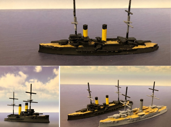 Borodino-Class Battleship 3d printed The 1:1250 scale option fully painted.  The ship at the bottom has been modified to resemble the IJN Iwami.  Photos provided by Makoto Hirohata.