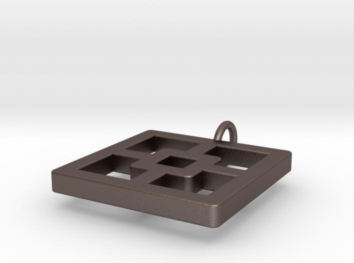 Breeze Block Pendant #1 - Polished Steel 3d printed