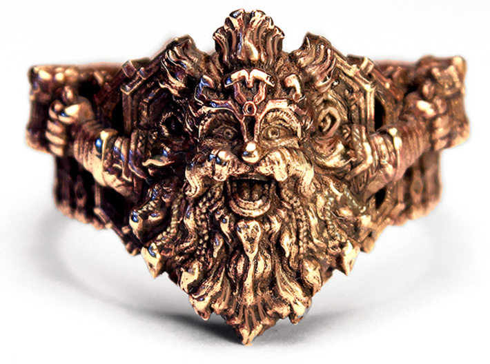 The Dwarven Ring of Festivities 3d printed Front Photo - Heat patina on Brass