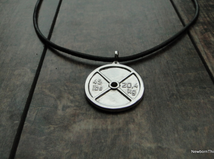 Pendant V9 - Weigth Plate with text 3d printed Polished Silver - Necklace not included