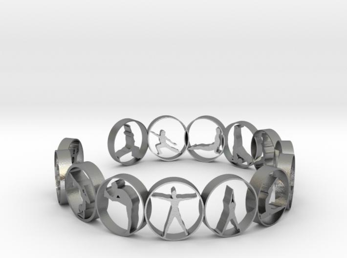 Yoga bangle with 14 poses. 66.9 mm 3d printed