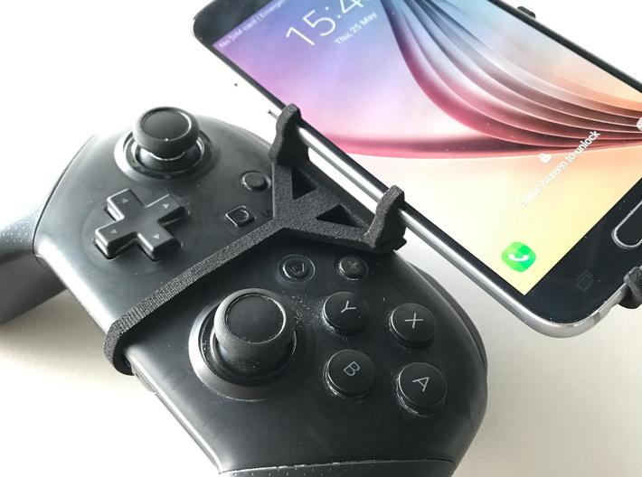 Nintendo Switch Pro controller & LG Q60 - Over the 3d printed Nintendo Switch Pro controller - Front Rider - Front View