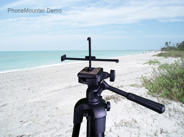 Nokia 9 PureView tripod & stabilizer mount 3d printed PhoneMounter mounted on a tripod