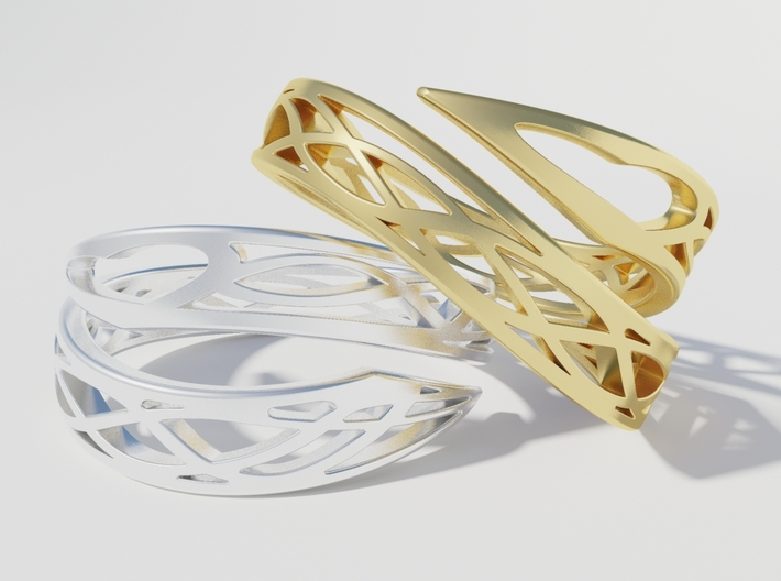 Embrace of Love 3d printed Render gold & silver